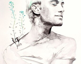 Original Watercolor Painting . Man Portrait painting with flowers. Jude Law. Blue flowers. Capsella bursa-pastoris.
