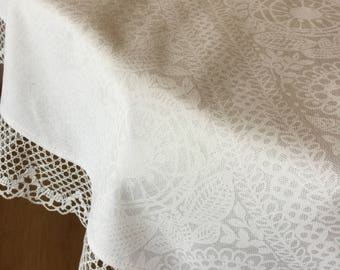 Round Tablecloth Linen Lace Ivory Print White Cotton Fabric 54 Inches