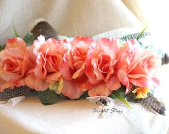 bohemian flower headband - boho crown - flower crown - big flower crown - flower headband - bridal flower headpiece - Floral crown headband