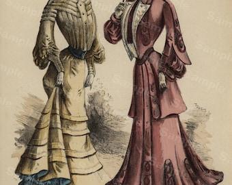 Gorgeous Antique  women costume color lithograph from JOURNAL DES DEMOISELLES  Original french costume chromolithograph modes de paris