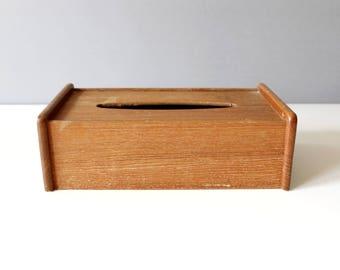 Vintage Dolphin Teak Wood Tissue Box Cover Danish Modern