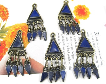 Blue Kuchi Pendant, Afghan Gemstone Dangle Pendants, Lapis Kuchi Necklace and Earring Components, Silver and Lapis Turkmen Pendant, 1 Pc