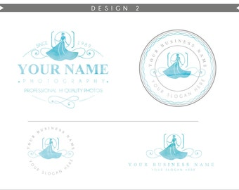Watercolor Logo Design Branding Package Inc. Photography Logo Watermark - wedding dress fashion camera  Watercolor Logo- Logo 2