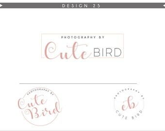 Watercolor Logo Design Branding Package Inc. Photography Logo Watermark - DANDELION initials letters script cute Watercolor Logo- Logo 25