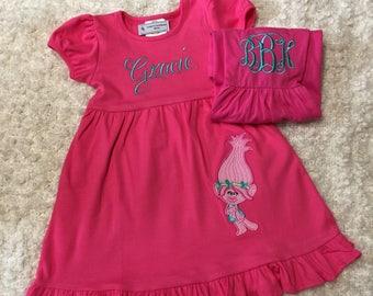 Poppy Troll Personalized Dress, Poppy Troll Outfit, Girls Dress