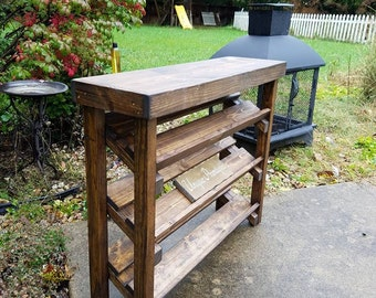 rustic dark walnut stained shoe rack 3 tier shelf angled plus top framework 101