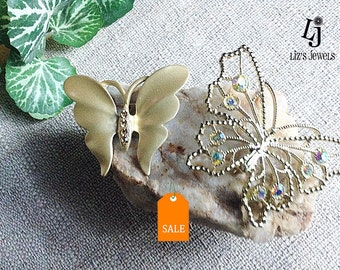 Vintage Gold tone and Filigree Butterfly Brooches, filigree brooch, costume jewelry, gold rhinestones