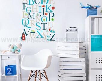 Alphabet Nursery Wall Decal - Playroom Wall Decal - Educational Wall Decal - Play Room Wall Decal - Custom Decal Wall Graphics -01-0001