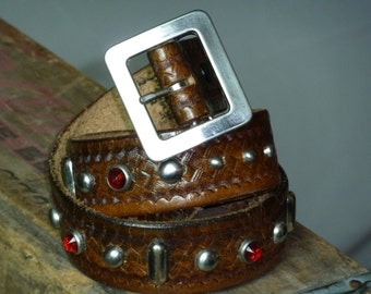 """BAM-BALAM Authentic Tan Leather Handmade 1940's 1950's Styled Motorcycle Rockabilly Western Belt. Holes at 30-33"""""""