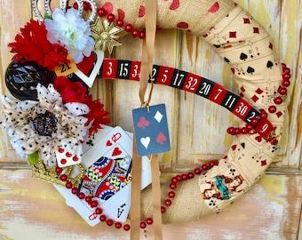 SALE  Game room wreath; 21 wreath; Novelty wreath; card wreath; Queen of Hearts wreath