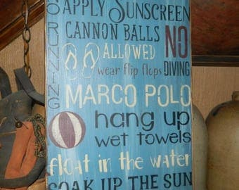 Pool Rules Primitive Sign