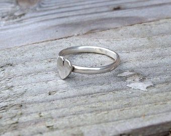 Sterling silver heart ring, silver ring, stacking ring, heart stacking ring, silver stacking ring, silver heart ring, boho ring, for her