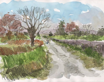 English road with oak original pencil and watercolor home decor english painting english watercolour original green art english art