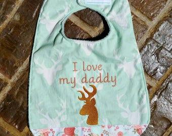 "Girls ""I love my daddy"" Embroidered Bib with Ribbon Trim"