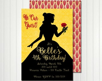 Belle Invitation, Belle Silhouette, Belle Birthday, Belle Party,  Princess Invitation, Princess Party, Beauty and the Beast Invitation