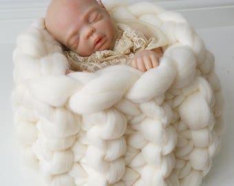 Wool Basket Newborn Baby  Posing Photography Prop