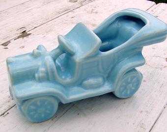 McCoy Sky Blue Vintage Car Planter, 1940s, stoneware