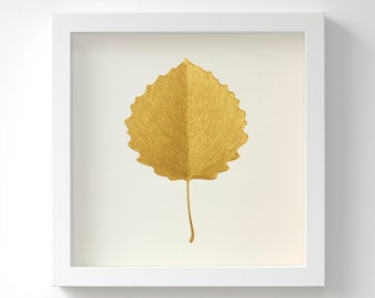 Aspen Leaf – Original Acrylic Painting – Gold Leaf – Hand Painted in 6 Metallic Shades – Gold Wall Art – Gift For Her – 3 Sizes – Unframed