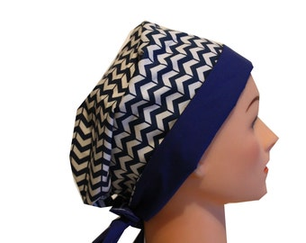 Scrub Hat Surgical Scrub Cap Chemo Hat w Tie Back Flirty Front Fold Pixie Style Blue Chevron /  2nd Item Ships FREE