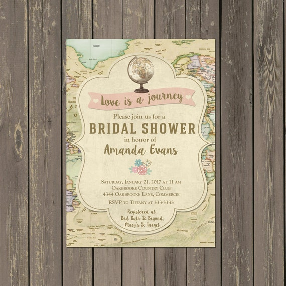 Map Travel Bridal Shower Invitation Globe Love Is A Journey