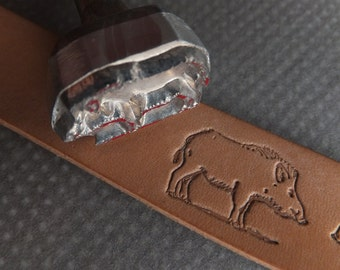Wild boar Aluminium Alloy Leather Stamp with own steel handle