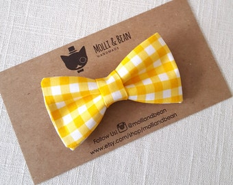 FREE U.S SHIPPING...Newborn Bow Tie, Toddler Bow Tie, Boys Bow Tie, Yellow Gingham Boys Bow Tie, Easter Bow Tie