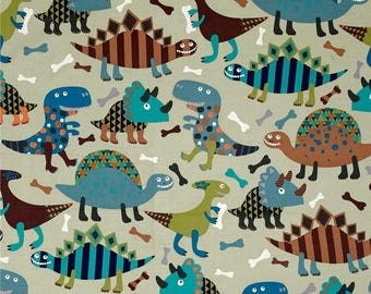 Funky Dinosaurs in Blue and Grey Fitted Crib/Toddler Sheet ~Custom Made~