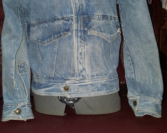 Guess By George Marciano Distressed Denim Jacket Size Small Please Fit According to Measurements Listed Snaps Down Front