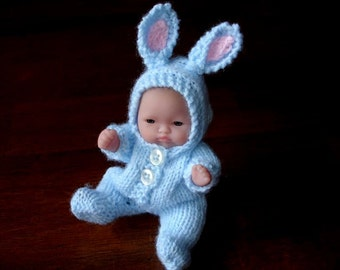 """Lots To Love, Berenguer, Tiny Easter Bunny Doll - Too Cute For Words Baby - 5"""" Tall - Blue Hand Knit Bunny Outfit"""