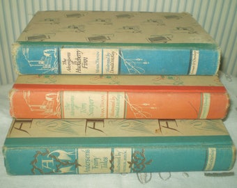vintage 1945-48 Children's Classic library books- Adventures of Huckleberry Finn, Adventures of Tom Sawyer, Andersen's Fairy Tales- 3 books
