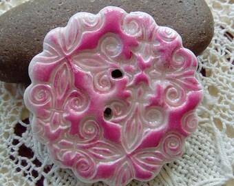 Pink faux ceramic polymer clay button, round button, floral button, scrapbooking, crafts, pink button, round pink button