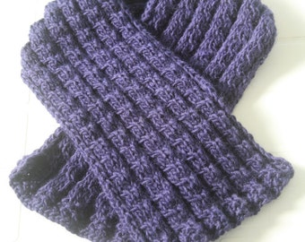 Hand Knitted Wool Scarf. Cable Knitted Scarf. Navy Blue Scarf. Gift Under 30 USD. Ready to Ship.