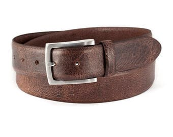 Dark brown leather belt vintage buffalo leather durable mens belt with brushed silver buckle