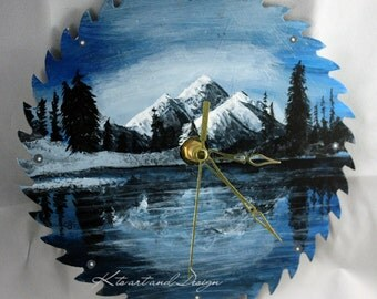 Mountain Landscape Saw Blade clock