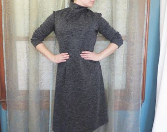 1960s Charcoal Gray Shift Dress Turtleneck Dress Vintage Midi Dress 60s Shift Dress Mad Men 60s Sheath Dress 60s Mod Dress
