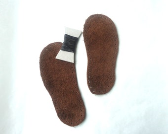 Children leather soles, dark brown soles, soles for baby booties, suede soles, leather outsole, soles for crochet slippers, sew on soles