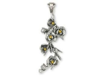Magnolia Pendant Jewelry Sterling Silver Handmade Flower Pendant MGS2-SP