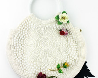 Off White Fully Beaded Vintage 50s Ladies Purse and Coin Pouch with Cluster of Vintage Flower Brooches