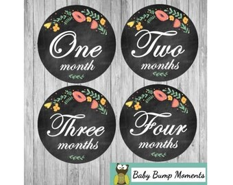 Printable Milestone Month Stickers, Monthly Baby Stickers, Baby Age Stickers,  Gift for New Moms, Chalkboard Floral, Digital, PDF