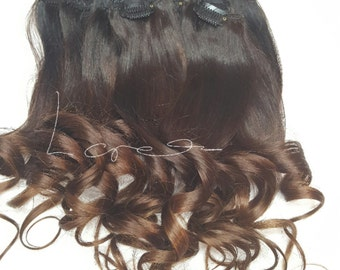 Clip in  Remy Human Hair Extensions # Dark Brown into Caramel ombre