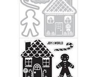 GINGERBREAD MAN HOUSE Candy Cane Stamp and Cut Die Set by Art-C die 28259 R7 1.cc22
