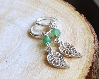 Tiny Leaf Earrings with Green Chrysoprase/Sterling Silver Jewelry/Simple Everyday Jewelry