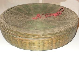 Vintage Decorative Woven Wicker Basket With Lid Keepsake Storage Needlework Sewing Country Decor Lidded Basket