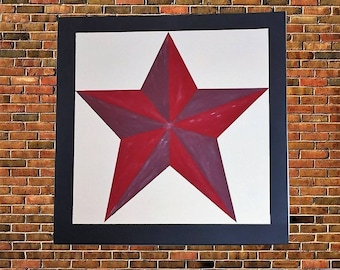 Texas Star Pattern, 2ft x 2ft, Hand Painted, Indoor Decor, Outdoor Decor, Farm House Painted, Wooden Barn Quilt,  Sign 1717