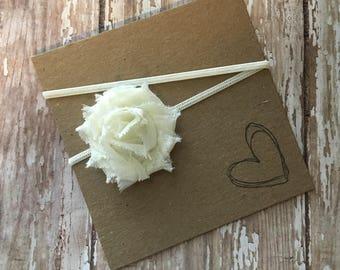 Ivory MINI Shabby Flower Headband