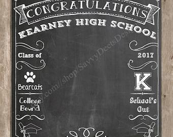 Complete Custom Chalkboard  Graduation Photo Backdrop Printable - Photobooth Backdrop - High School Graduation Backdrop - College Graduation