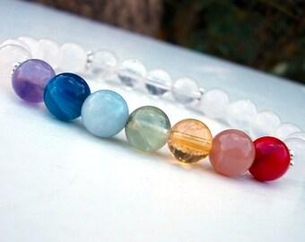Seven Chakra bracelet, Yoga class bracelet, Healing Chakra bracelet, Seven Chakra stone bracelet,Crown chakra bracelet, Mala wrist bracelet