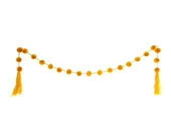 Pom Pom Decor Garland / Tree Decoration / Party Decoration (Mustard Yellow) - Mexico (004P)