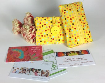 Credit Card Wallet & Travel Tissue Case, Polkadot Business Card Purse Tissue Holder, Yellow Loyalty Card Pouch Kleenex Case, Gifts Under 10