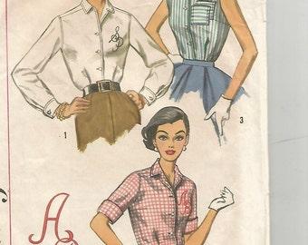 2195 Simplicity Sewing Pattern Classic Shirtwaist Shirt Size 12 32B Vintage 1950s